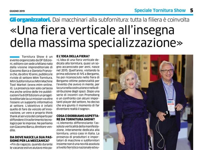 Tornitura Show ringrazia Giacomo Barca e Daniela Franzosi.