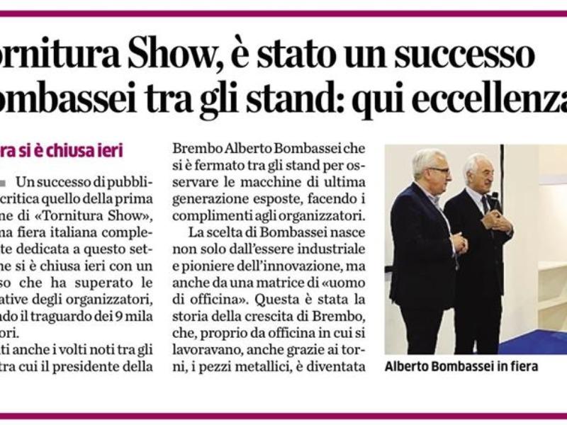 Tornitura Show ringrazia l'Ing. Alberto Bombassei.