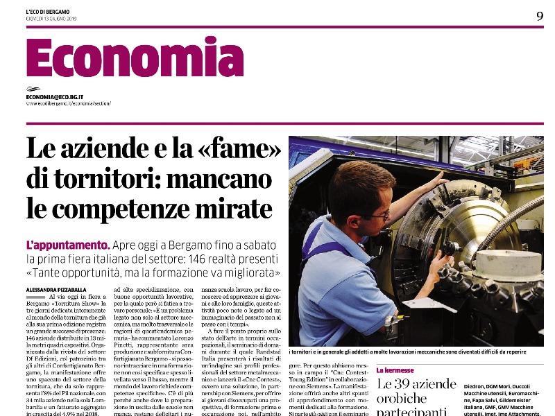 Tornitura Show apre la sezione economia dell'Eco di Bergamo.