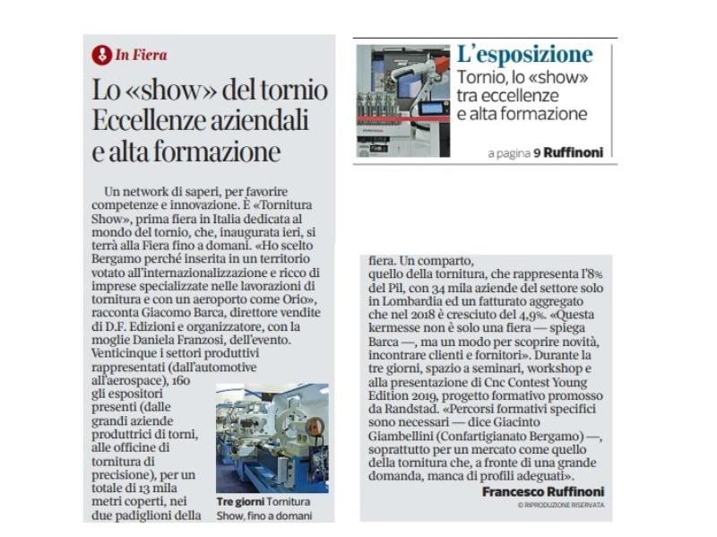 Tornitura Show e' nella pagine dell'Economia del Corriere della Sera.