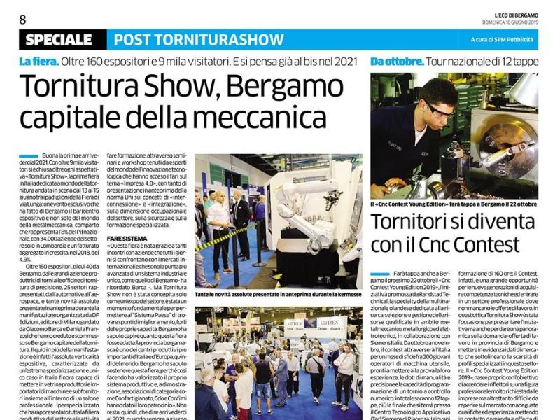 Tornitura Show e', ancora, nella sezione economia dell'Eco di Bergamo.